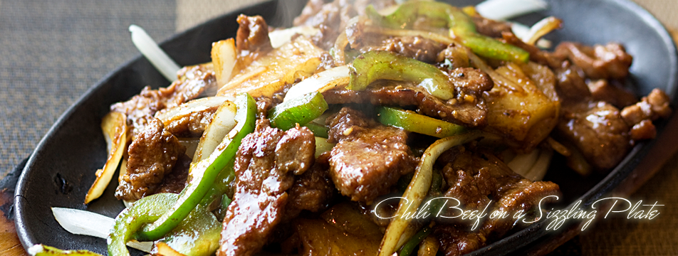 Chili Beef on a Sizzling Plate at Yueh Tung Restaurant